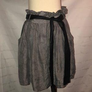 Elizabeth&James Gray Distressed Paper Bag Skirt M